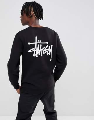 Stussy Sweatshirt With Logo Back Print In Black
