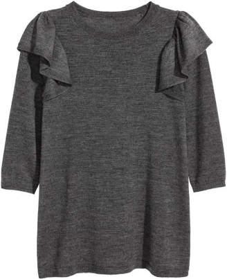 H&M Short Merino Wool Dress - Gray
