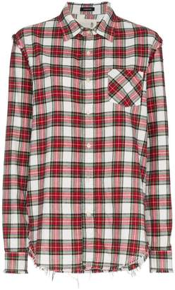 R 13 distressed long sleeve check print cotton shirt