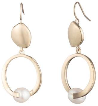 Carolee Golden Hour Sculptural Double Drop Earrings with Freshwater Pearl