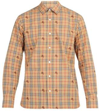 Burberry Vintage Check And Equestrian Knight Cotton Shirt - Mens - Beige Multi