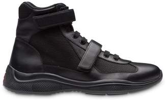 Prada Leather and fabric high-top sneakers
