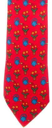 Hermes Watering Can & Flower Print Silk Tie