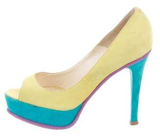 Brian Atwood Suede Colorblock Pumps