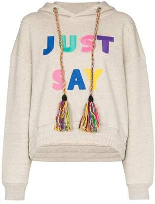 Mira Mikati slogan embroidered hoodie