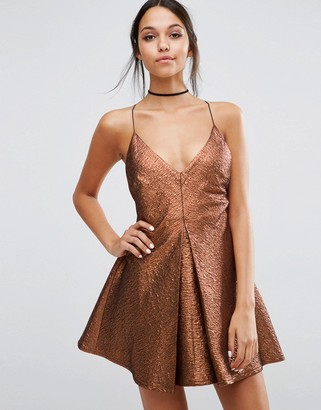 ASOS NIGHT Deep Plunge Aline Metallic Mini Dress $83 thestylecure.com