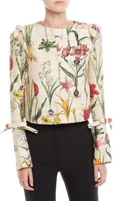 Oscar de la Renta Enchanted Forest Bow-Detail Jacket