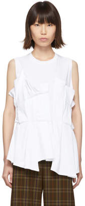 Enfold White Random Tuck Tank Top