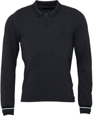 Ben Sherman Colour Block Cuffs Long Sleeve Polo Dark Grey