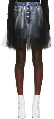 Unravel Blue Denim Tulle Reverse Miniskirt