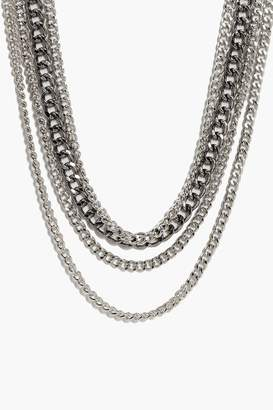 boohoo Avery Layered Punk Chain Necklace