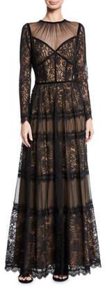Tadashi Shoji Long-Sleeve Lace & Pleated Gown