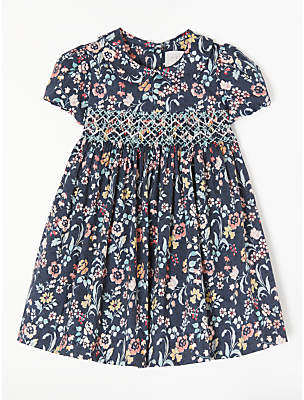 John Lewis & Partners Baby Floral Crochet Smock Dress, Navy