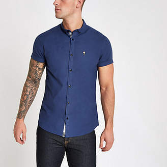 River Island Mens Blue muscle fit rose embroidered Oxford shirt