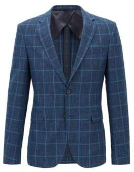 BOSS Hugo Slim-fit blazer in check virgin-wool 42R Open Blue