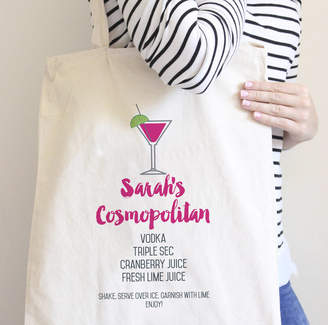 Hurley Sarah Personalised Cosmopolitan Cocktail Recipe Tote Bag