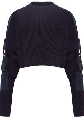 Cropped Cotton Canvas-trimmed Wool Sweater - Navy