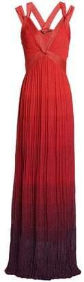Roberto Cavalli Pleated Metallic Dégradé Knitted Gown