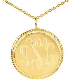 a・i・n QVC 24K Plated Sterling Monogram Disc Pendant w/ Ch ain