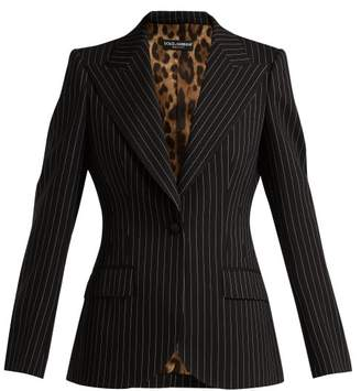 Dolce & Gabbana Single Breasted Pinstripe Wool Blazer - Womens - Navy White