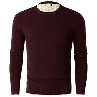 Chain Stitch Men's Thick Fleece-Lined Pullover Crew Neck Sweater