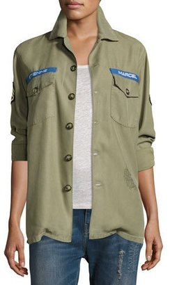 Etienne Marcel Logo Military Army Jacket $209 thestylecure.com