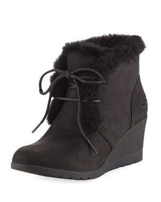UGG Jeovana Lace-Up Wedge Bootie, Black