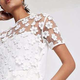 River Island Womens Cream mesh floral T-shirt
