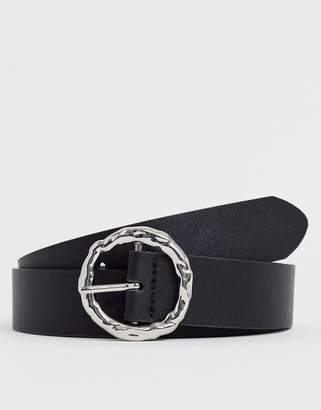 Asos Design DESIGN faux leather wide belt in black with silver circle hammered buckle
