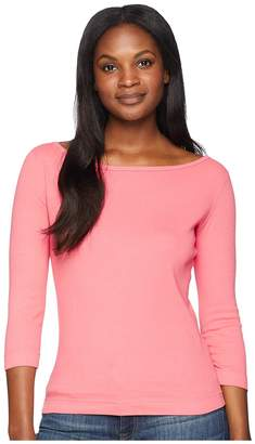 Three Dots Essential British Neck 3/4 Sleeve Top Women's Clothing