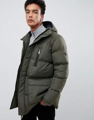 Criminal Damage longline puffer jacket in khaki