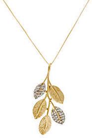 ADI Paz 1/5 cttw Diamond & 14K Gold LeafPendant w/Chain