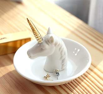 PUDDING CABIN Unicorn Jewelry Ring Holder Dish - Wedding Engagement Rings Tray Gift