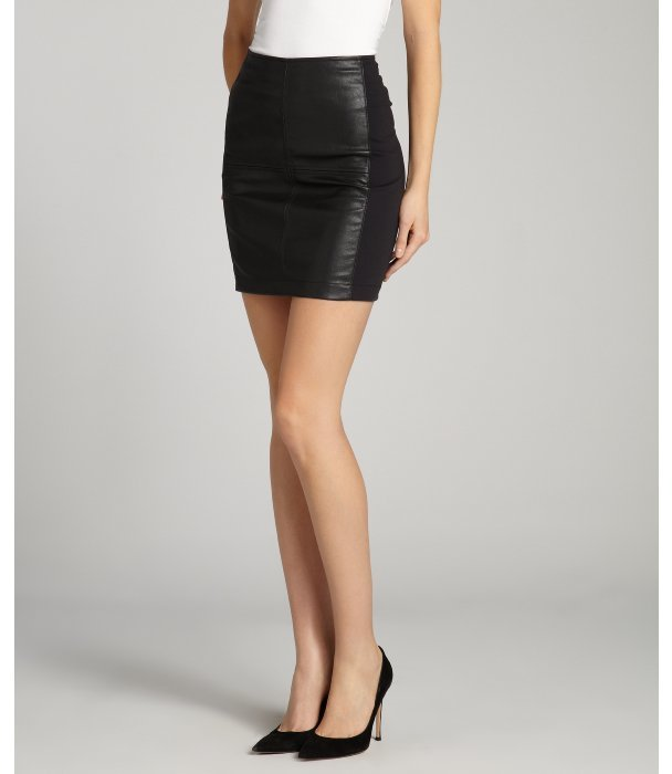Willow & Clay black side stretchy vegan leather mini skirt
