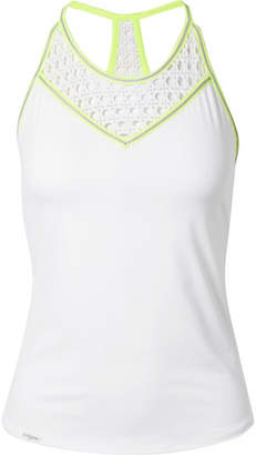 L'Etoile Sport - Striped Pointelle-knit And Stretch-jersey Tank - White