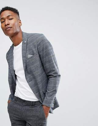 Selected Check Blazer With Peak Lapel In Slim Fit