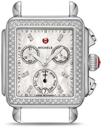 Michele Deco Diamond Dial Watch Head, 33 x 35mm