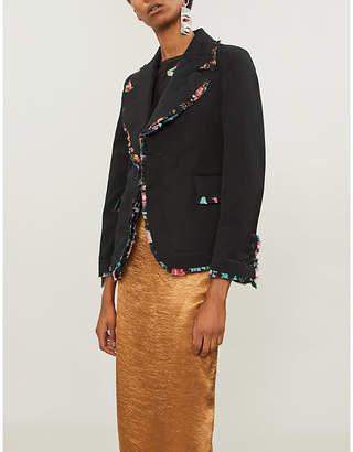 Comme des Garcons Floral frill-trimmed wool coat