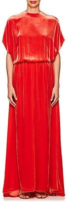 Valentino WOMEN'S CUTOUT-BACK VELVET GOWN - ORANGE SIZE 6