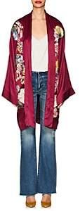 Alice Archer Women's Embroidered Silk Satin Robe - Wine
