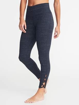 Old Navy High-Rise 7/8-Length Lattice-Hem Yoga Leggings for Women