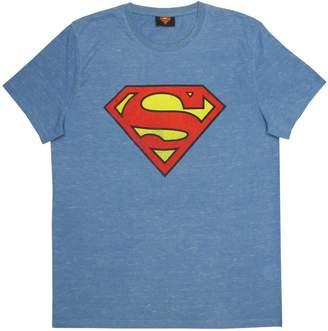 Superman Men's Crew Neck T-Shirt, Denim Mixed (Medium)
