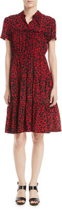 No.21 No. 21 Leopard-Print Ruffle Short-Sleeve Dress