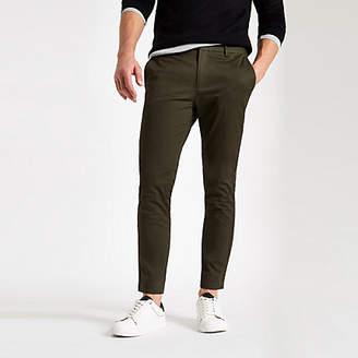 River Island Mens Dark green skinny chino trousers