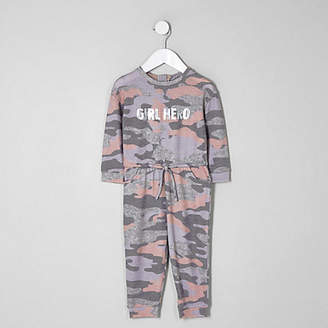 River Island Mini girls Pink camo onesie