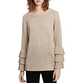 Calvin Klein Women's Lurex Crewneck with Tri-Ruffle Sleeve