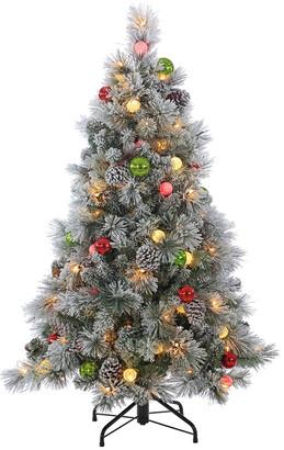 Sterling Tree Company 4.5Ft. Pre-Lit Flocked Hard Needle Pine W/ Ornaments & 50 G40 Led Glass Bulbs