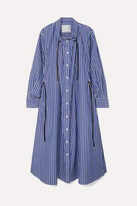 Sacai Gathered Striped Cotton-poplin Midi Dress - Blue