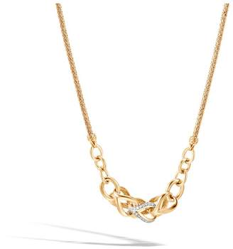 John Hardy Asli Classic Chain Link Station Necklace In 18K Gold, Diamonds