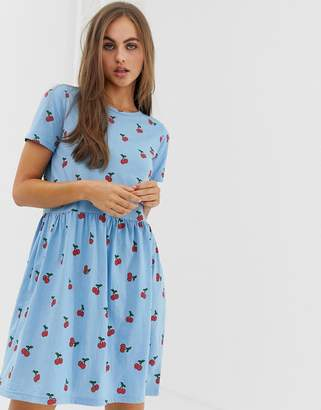 Daisy Street mini smock dress in all over cherry print